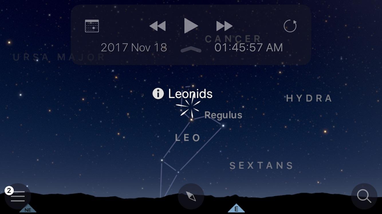 Положение радианта Леонидов в созвездии Льва (скриншот приложения Sky guid)