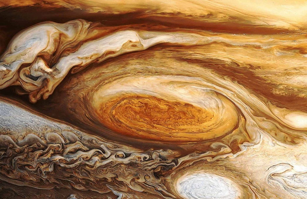 Обработанный снимок Большого Красного Пятна на Юпитере