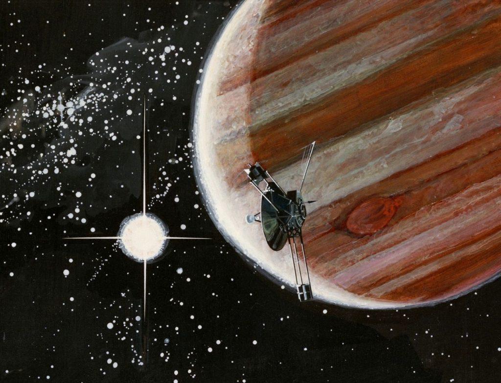 Пионер-10 на фоне Юпитера