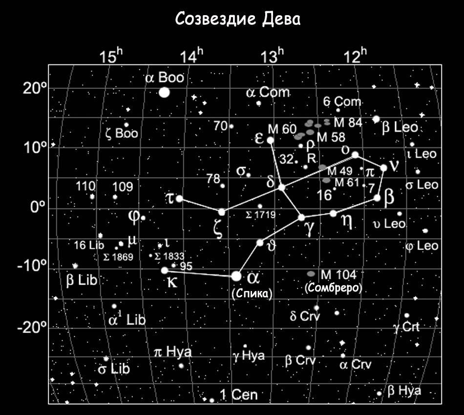Расположение M104 в созвездии Дева
