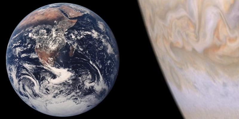 Сравнение Земли и Юпитера