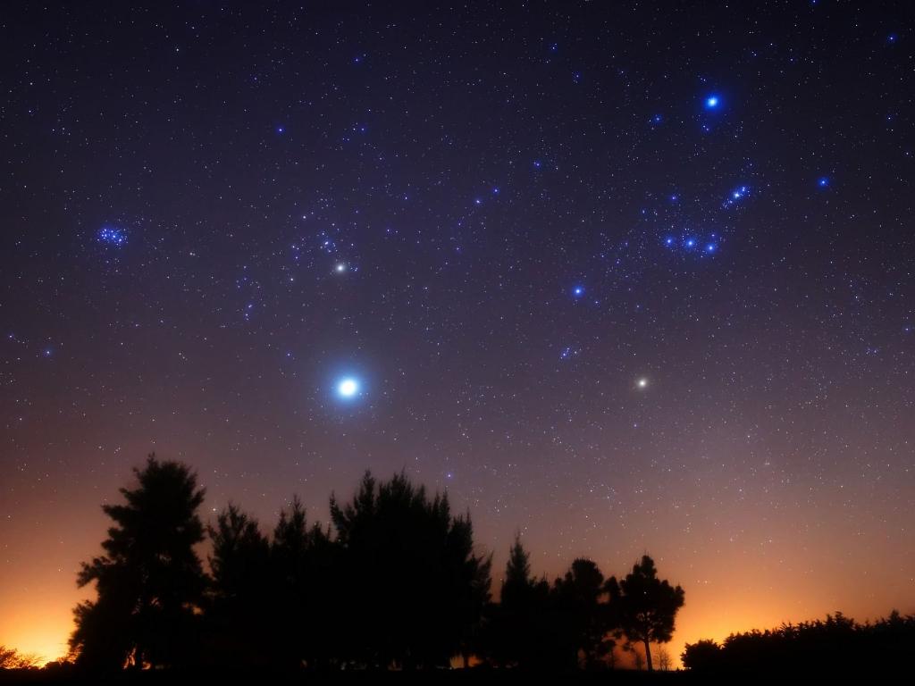Юпитер, Альдебаран, Бетельгейзе, М42 и Плеяды
