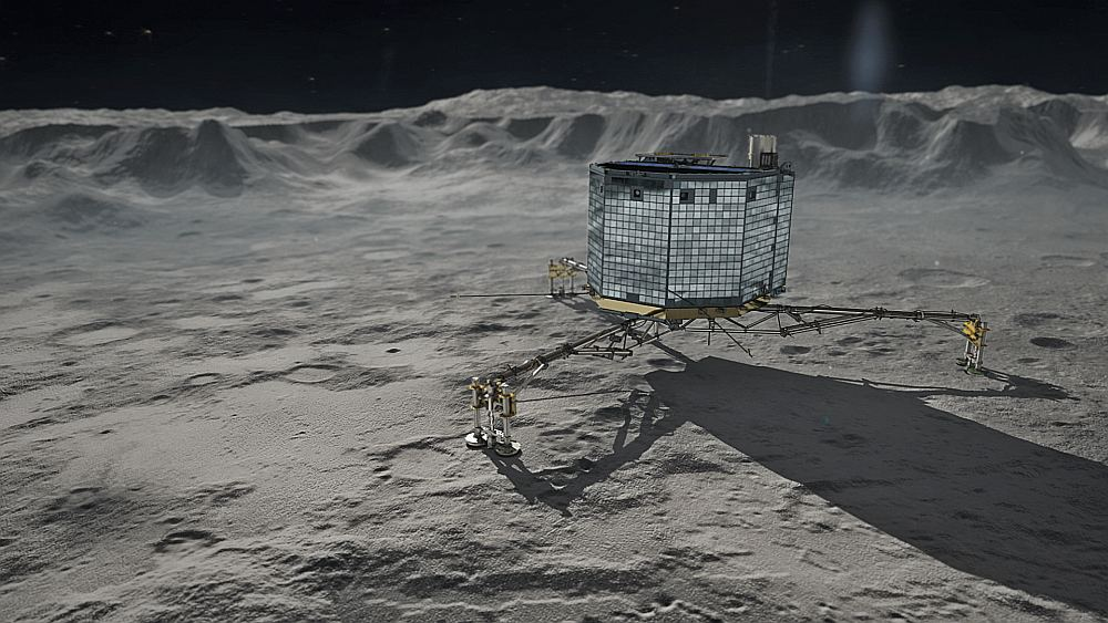 Зонд Philae на поверхности кометы