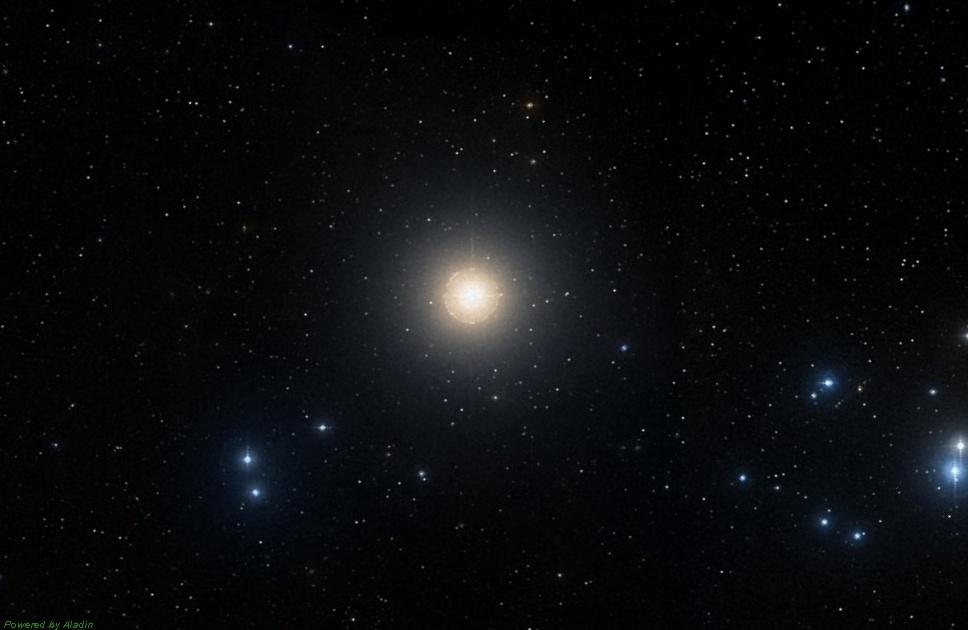 Звезда Альдебаран, снимок взят из каталога DSS