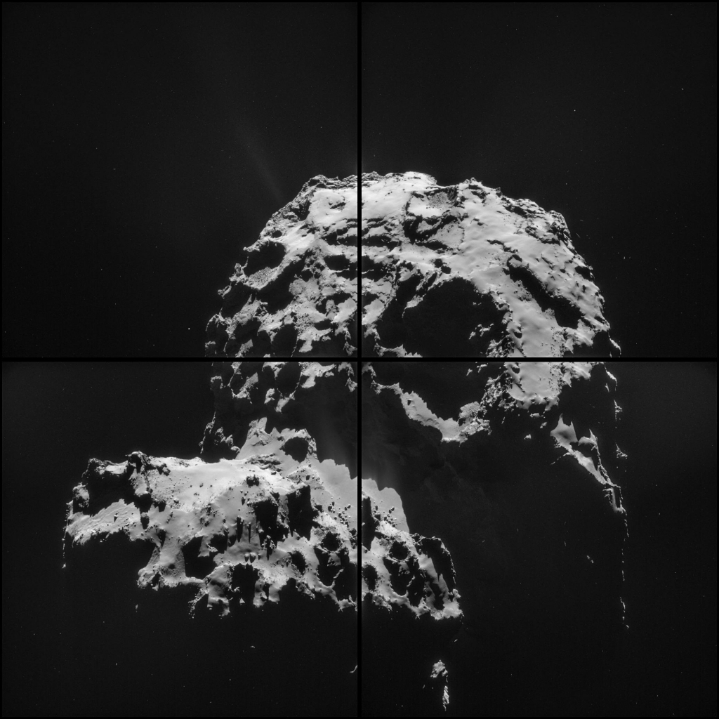 Эта мозаика составлена из четырех снимков, сделанных 30 ноября 2014 года с расстояния 30,2 км от центра кометы Чурюмова-Герасименко.