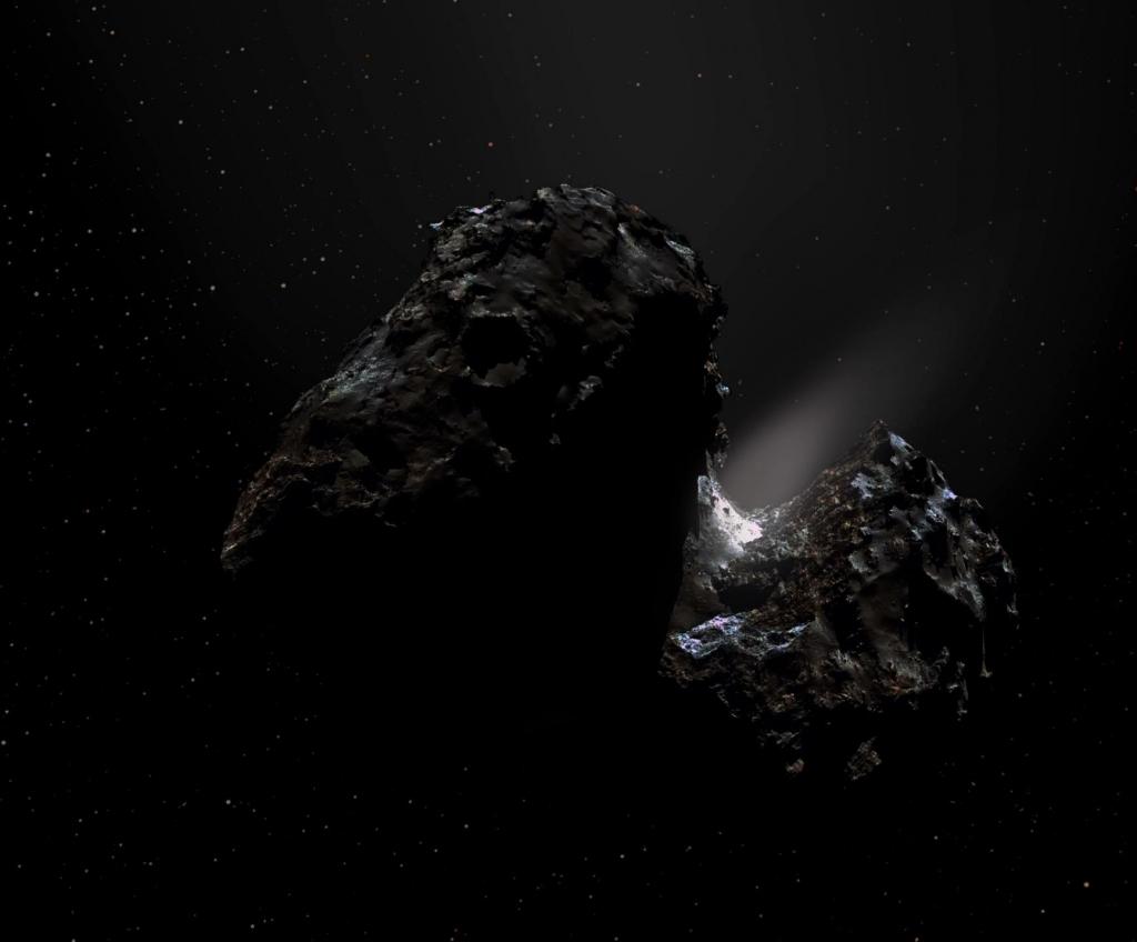 Художественная обработка мозаики кометы, сделанной аппаратом Розетта 17 ноября 2014 года