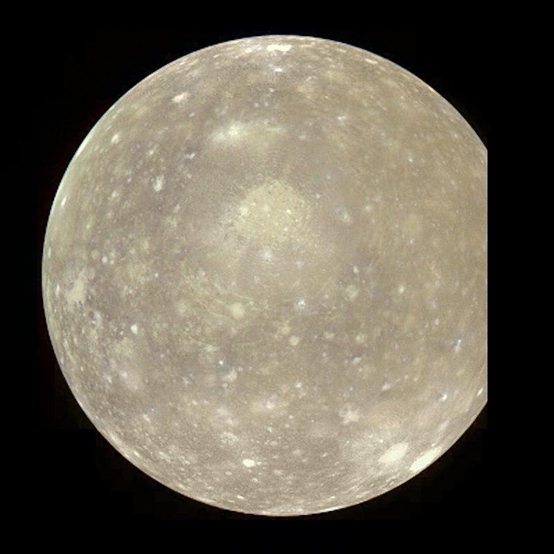 Композитный снимок Каллисто, спутника Юпитера