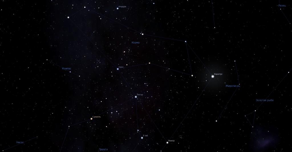 Корма, вид в программу планетарий