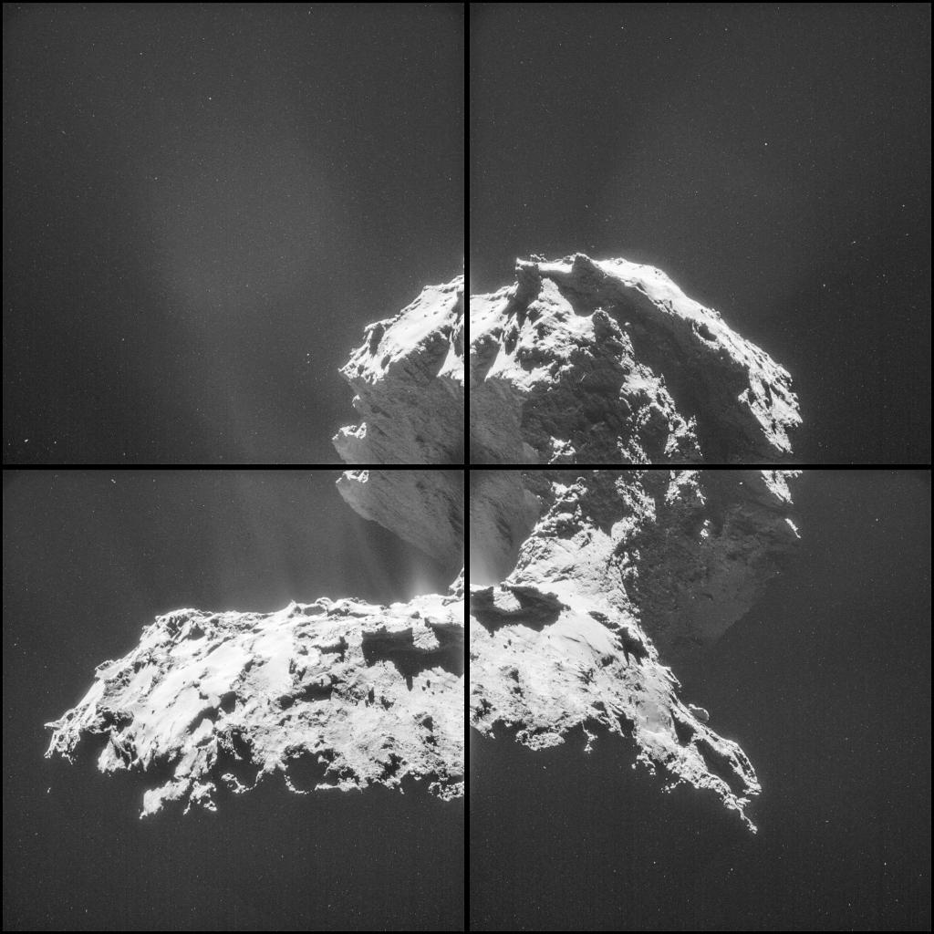 Мозаика кометы от Розетты составленная из 4-х снимков