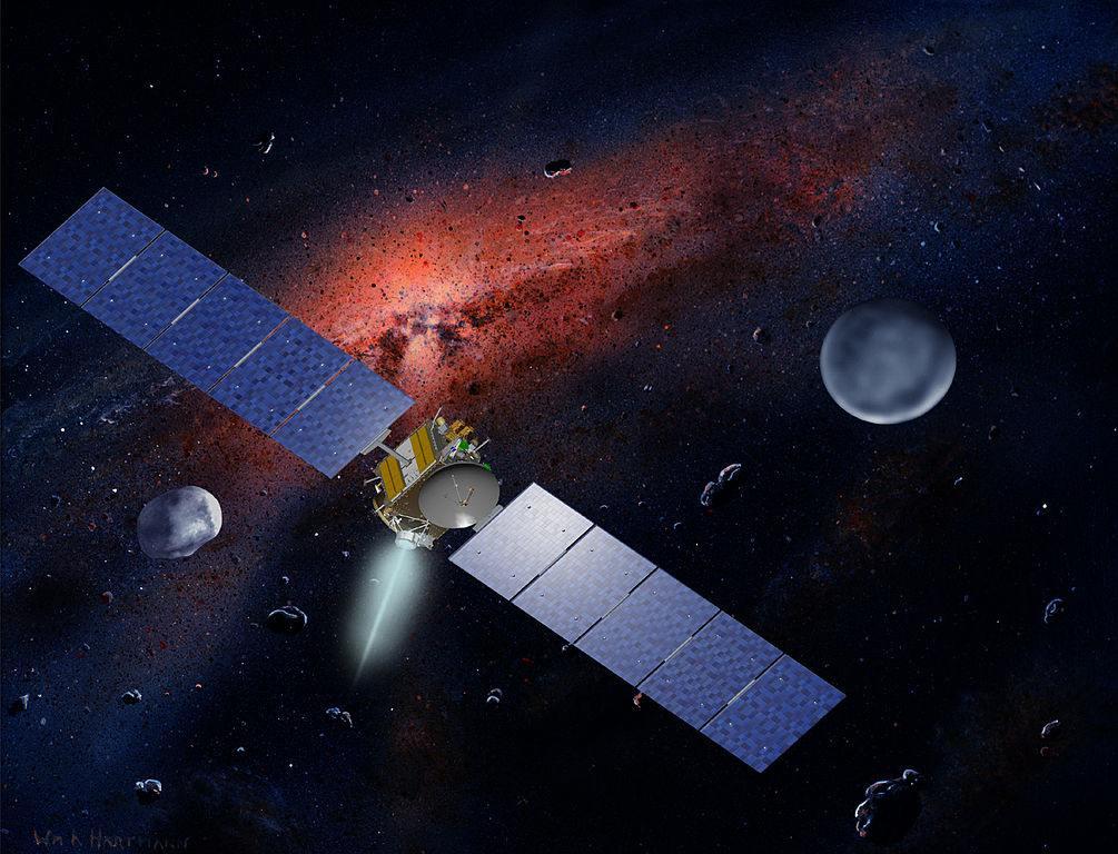 Полёт космического аппарата Dawn к Весте (слева) и Церере (справа)