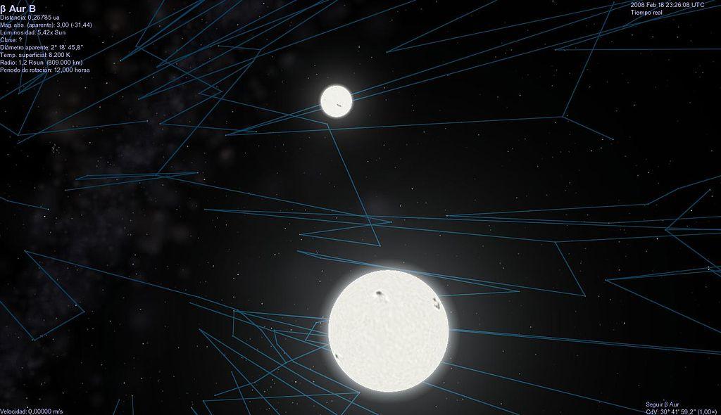 Система Бета Возничего в программе Celestia
