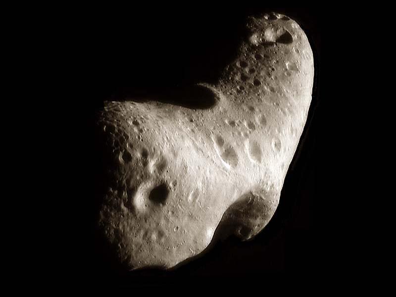 Составное изображение северной полярной области астероида Эрос