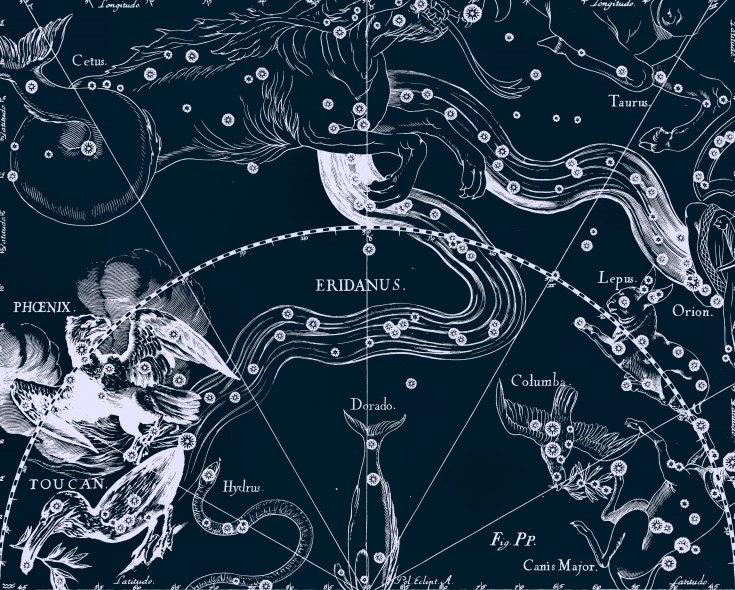 Созвездие Эридан, рисунок Яна Гевелия из его атласа созвездий