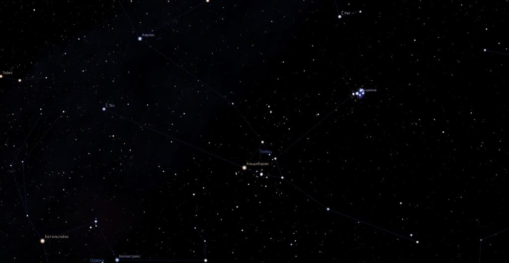 Созвездие Телец - вид в программу планетарий
