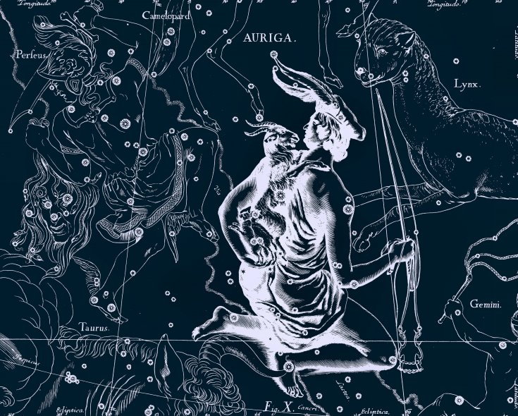 Созвездие Возничий, рисунок Яна Гевелия из его атласа созвездий