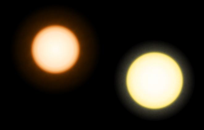 Сравнение размеров звезды Эпсилон Эридана (слева) и Солнца
