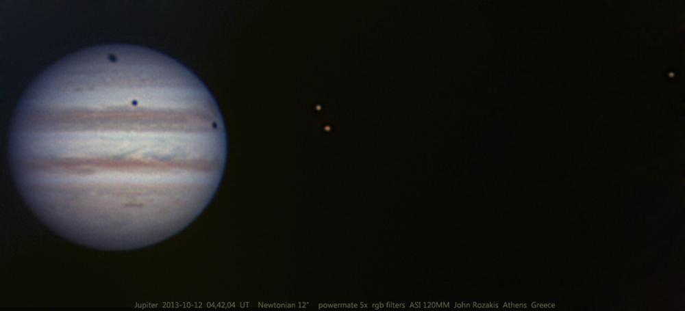 Тройной транзит лун по Юпитеру 12 октября 2013 года
