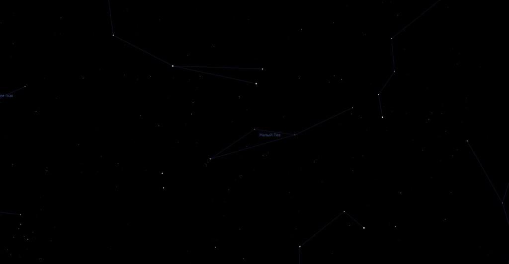 Созвездие Малый Лев, вид в программу планетарий Stellarium