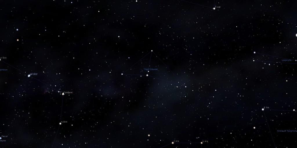 Созвездие Наугольник, вид в программу планетарий Stellarium
