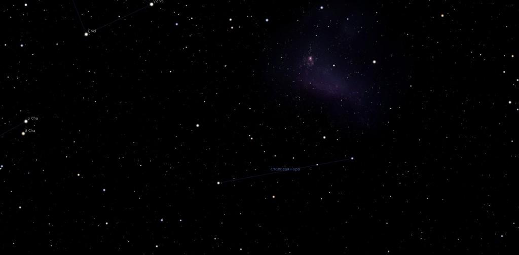 Созвездие Столовая Гора, вид в программу планетарий Stellarium