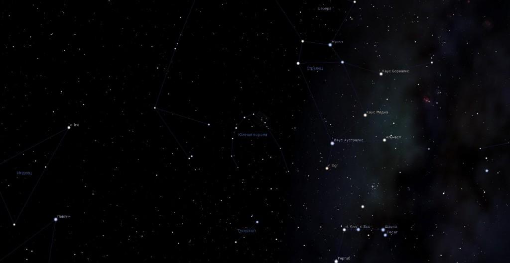 Созвездие Южная Корона, вид в программу планетарий Stellarium