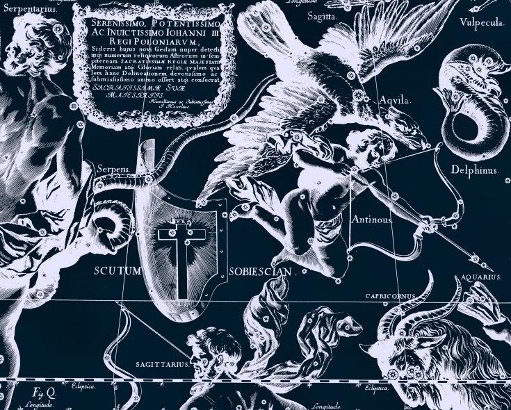 Южные созвездия, в том числе и созвездие Щит. Рисунок Яна Гевелия
