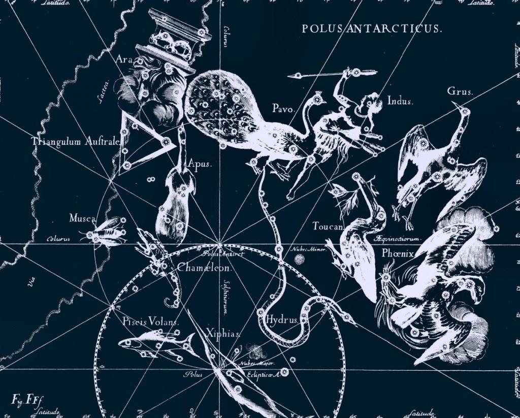 Расположение созвездия Октант, рисунок Яна Гевелия