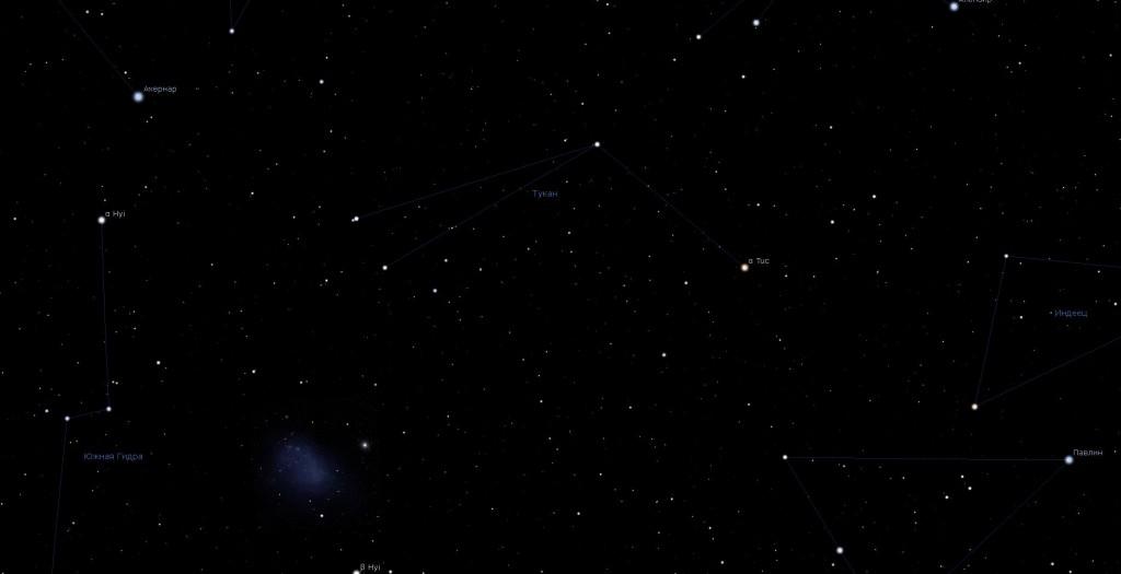 Созвездие Тукан, вид в программу планетарий Stellarium