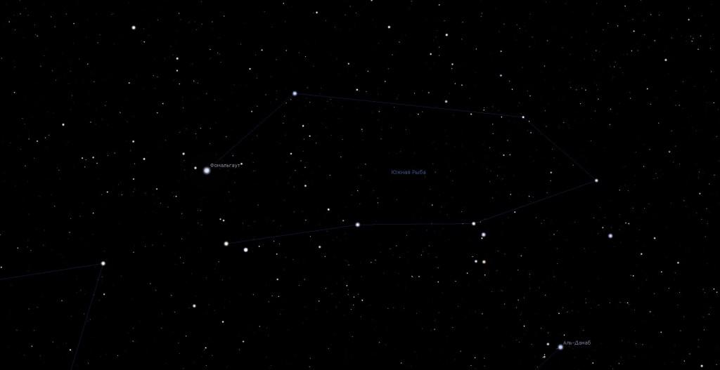 Созвездие Южная Рыба, вид в программу планетарий Stellarium