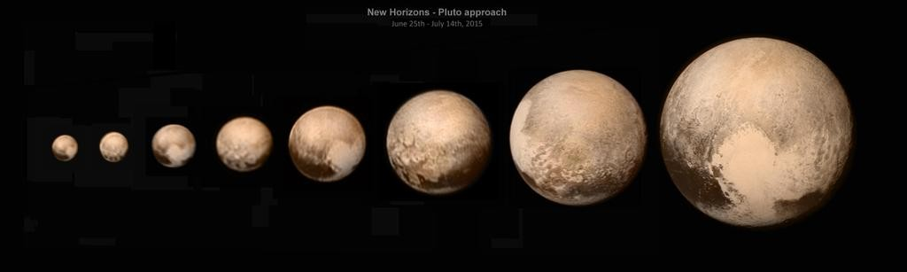 Коллаж цветных снимков Плутона