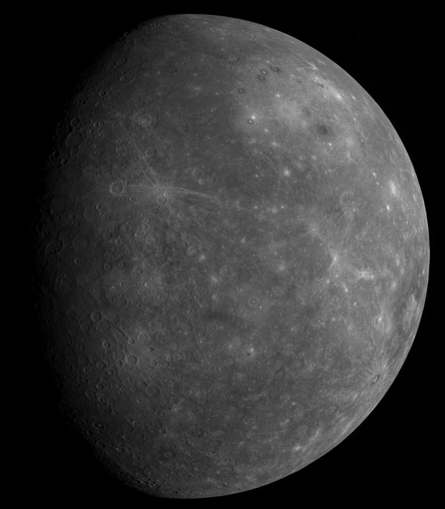 Композитный снимок невидимой с Земли стороны Меркурия полученный зондом MESSENGER