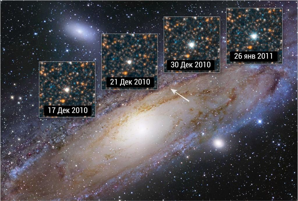 Изменение блеска звезды V1 в галактике M31