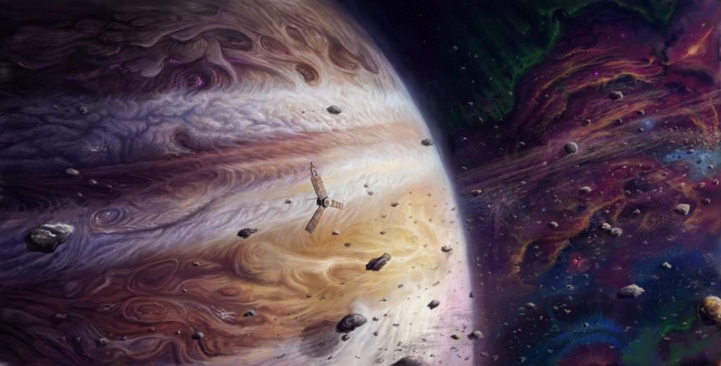 Фантастический рисунок Юноны на фоне газового гиганта