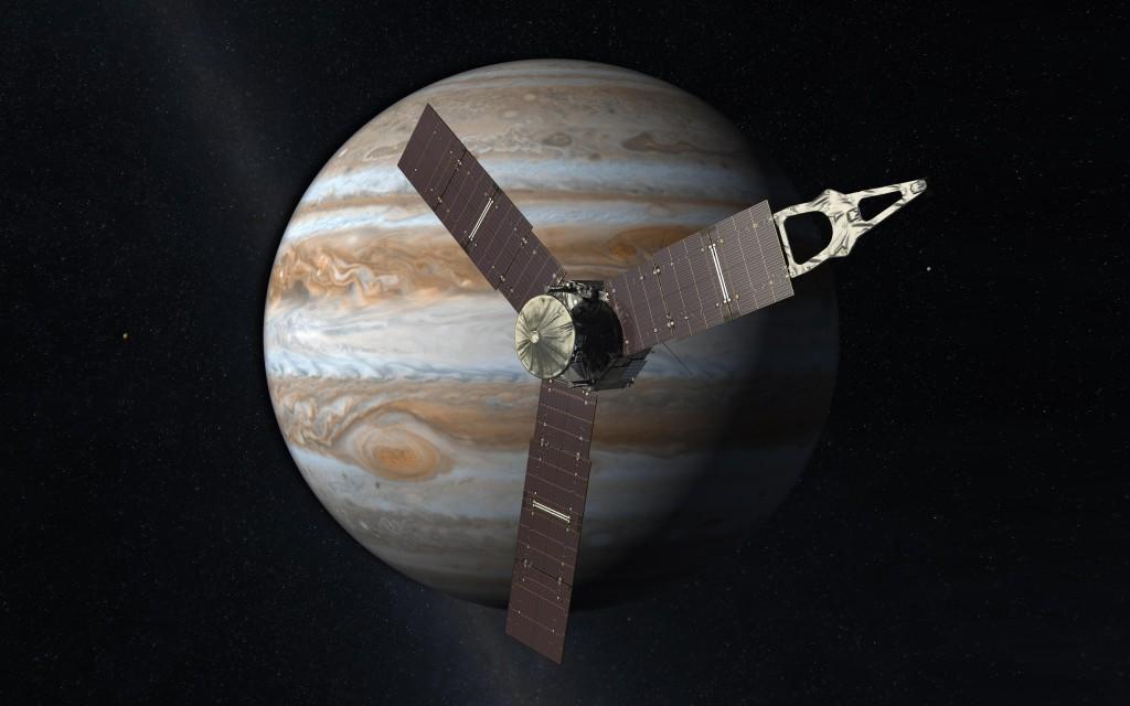 Юнона на фоне Юпитера