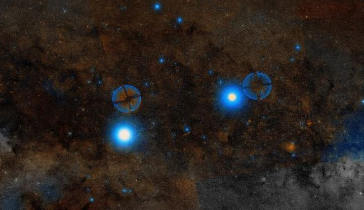 Звезды альфа Центавра (слева) и Хадар (справа) на фоне Млечного Пути