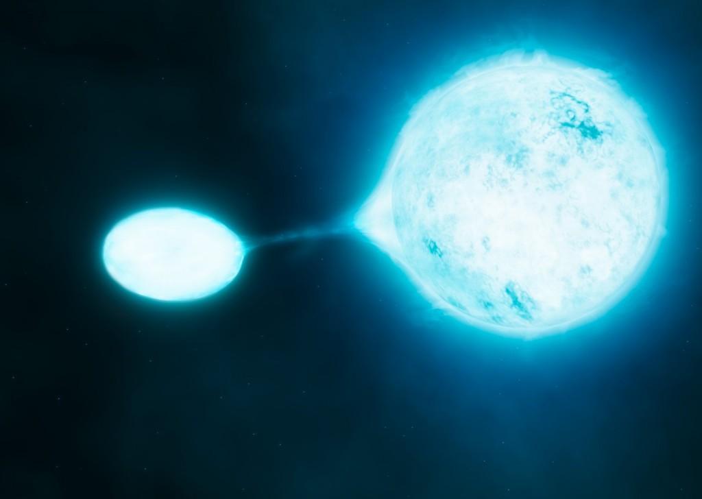 Двойная звездная система, в которой одна звезда перетягивает вещество из другой — мощный источник гравитационных волн.