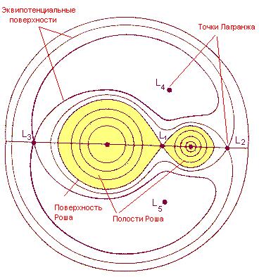 Сечение поверхностей равного потенциала в модели Роша в орбитальной плоскости двойной системы