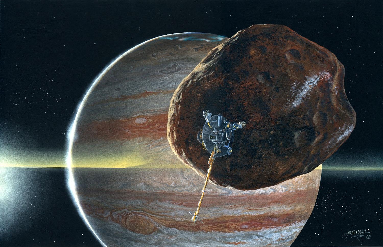 """""""Галилео"""" на фоне Амальтеи. Рисунок."""