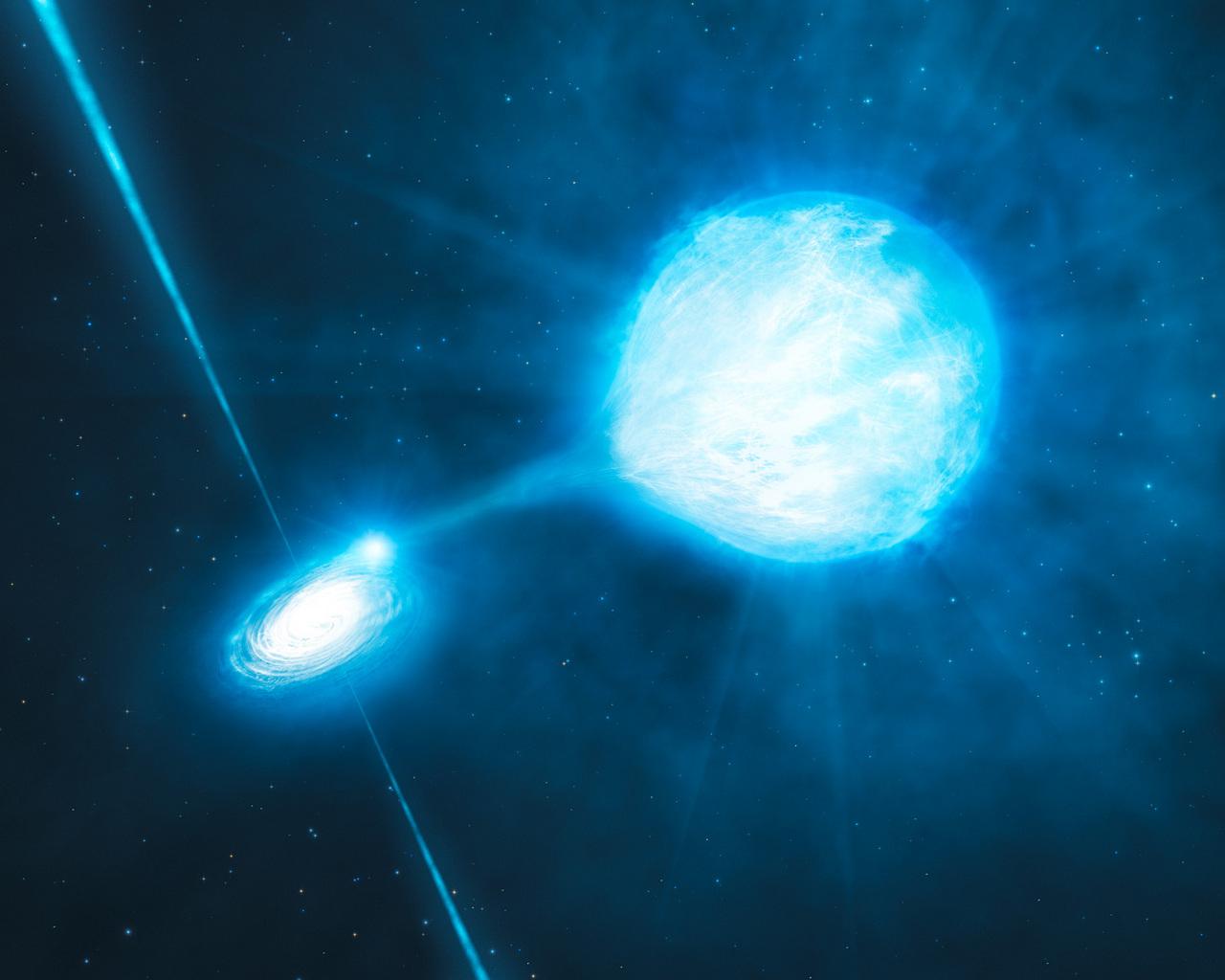 Черная дыра от старшей звезды WR перетягивает вещество от соседа, превращая его в звезду Вольфа-Райе