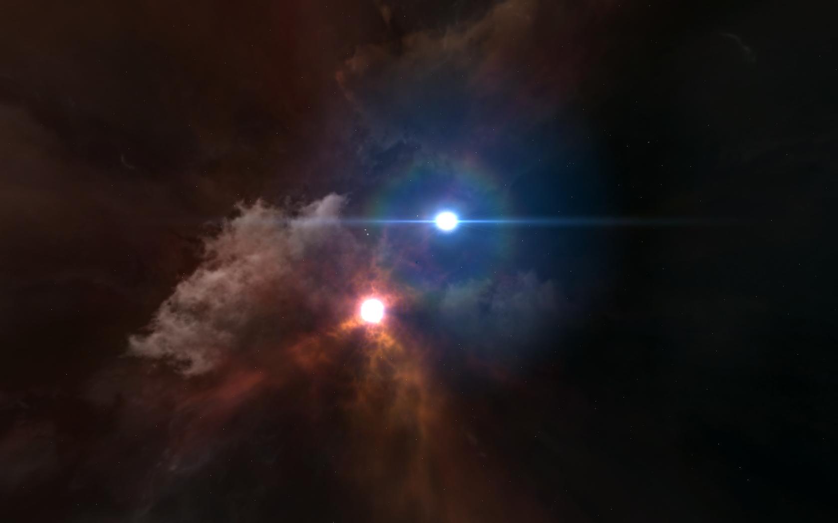 Двойная система звезд (голубая — звезда Вольфа-Райе)