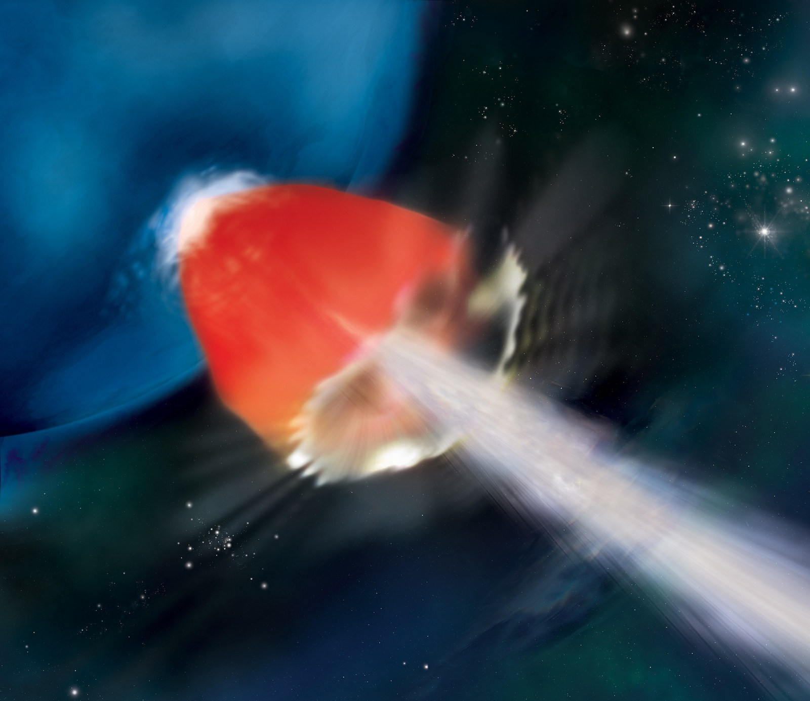 Гамма-взрыв на звезде в представлении художника