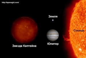 Сравнение размеров звезды Каптейна