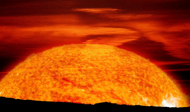 Восход Солнца-красного гиганта на Земле в представлении художника