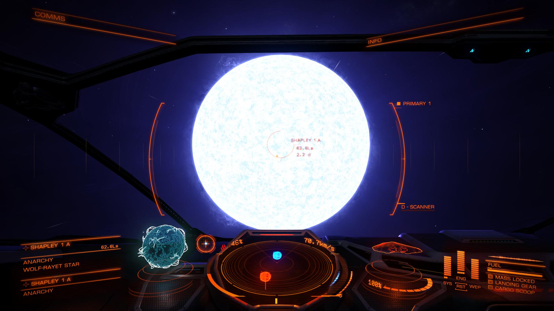 Звезда Вольфа-Райе из космического корабля (симулятор Elite)