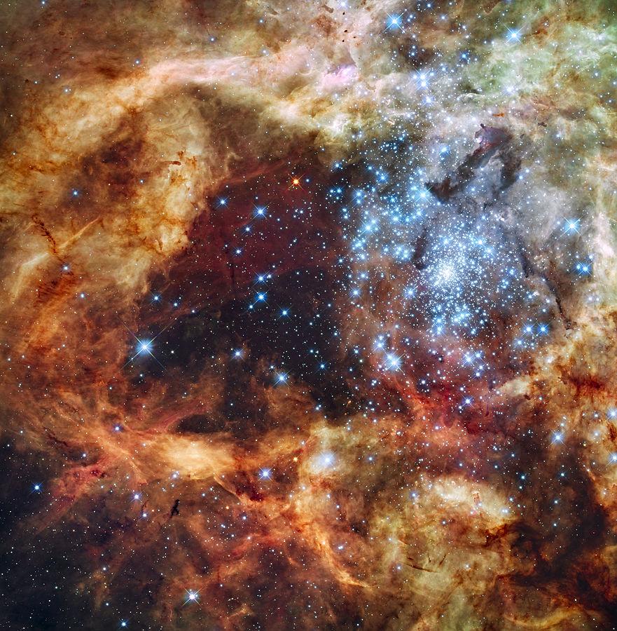 Звездное скопление R136. Снимок телескопа Хаббл