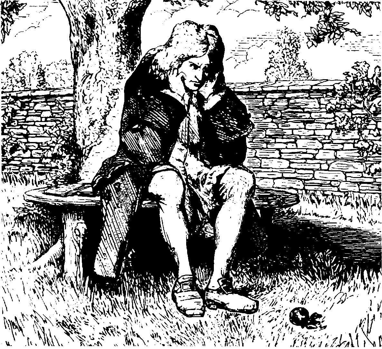 Исаак Ньютон и знаменитое яблоко, на примере которого ученый сформировал закон всемирного тяготения