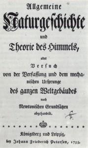 """Титульный лист """"Всеобщей естественной истории и теории неба"""". Первое издание, 1755 год."""