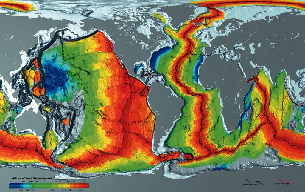 Возраст океанической коры (красный соответствует молодой коре, синий — старой).