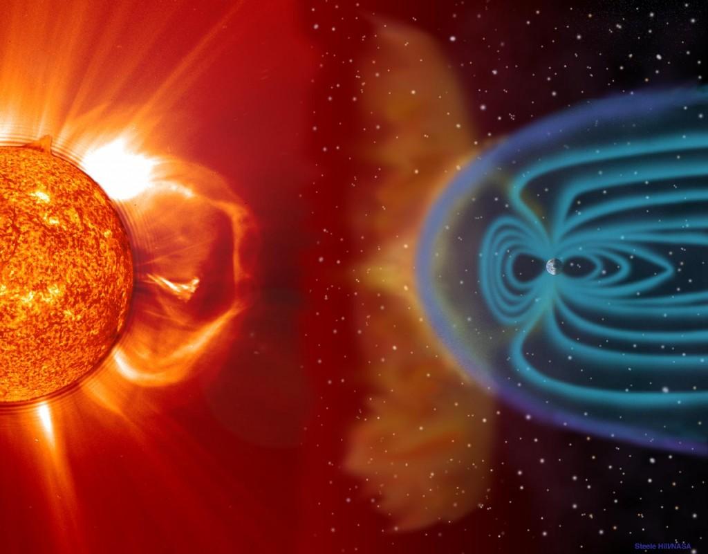 Магнитное поле Земли защищает планету от солнечного ветра. В спутников такой мощной защиты нет.