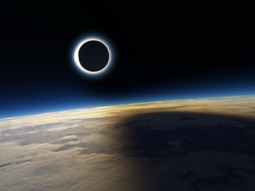 Вид на затмение с орбиты Земли